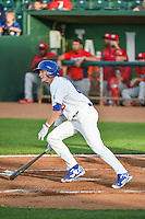 Logan Landon (43) of the Ogden Raptors at bat against the Orem Owlz in Pioneer League action at Lindquist Field on June 18, 2015 in Ogden, Utah. This was Opening Night play of the 2015 Pioneer League season.   (Stephen Smith/Four Seam Images)