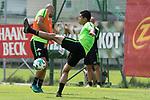 11.07.2017, Sportplatz, Zell am Ziller, AUT, TL Werder Bremen 2017 - Training Tag 05, <br /> <br /> im Bild <br /> Luca Caldirola (Werder Bremen #3)<br /> Yuning Zhang (Neuzugang SV Werder Bremen #19)<br /> Foto &copy; nordphoto / Kokenge
