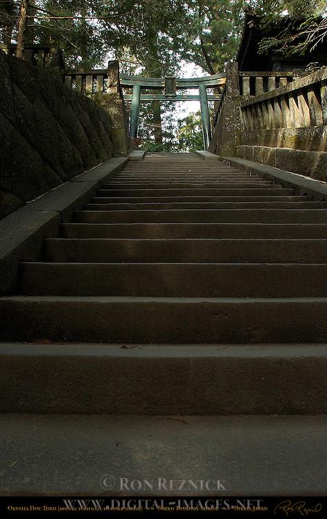 Dou Torii Bronze Torii Gate Monolithic Stone Steps to Okusha Inner Shrine Nikko Toshogu Shrine Nikko Japan