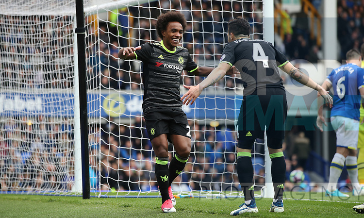 Willian of Chelsea celebrates scoring the third goal with Cesc Fabregas of Chelsea during the English Premier League match at Goodison Park , Liverpool. Picture date: April 30th, 2017. Photo credit should read: Lynne Cameron/Sportimage