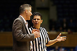 17 January 2016: Boston College head coach Erik Johnson (left) and referee Frank Steratore (right). The Duke University Blue Devils hosted the Boston College Eagles at Cameron Indoor Stadium in Durham, North Carolina in a 2015-16 NCAA Division I Women's Basketball game. Duke won the game 71-51.