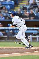 Asheville Tourists first baseman Grant Lavigne (34) runs to first base during a game against the Charleston RiverDogs at McCormick Field on April 10, 2019 in Asheville, North Carolina. The  RiverDogs defeated the Tourists 5-3. (Tony Farlow/Four Seam Images)