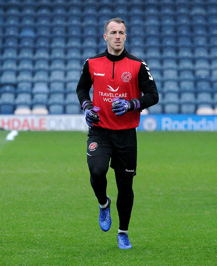 Fleetwood Town's Alex Cairns during the pre-match warm-up <br /> <br /> Photographer Hannah Fountain/CameraSport<br /> <br /> The EFL Sky Bet League One - Rochdale v Fleetwood Town - Saturday 19 January 2019 - Spotland Stadium - Rochdale<br /> <br /> World Copyright © 2019 CameraSport. All rights reserved. 43 Linden Ave. Countesthorpe. Leicester. England. LE8 5PG - Tel: +44 (0) 116 277 4147 - admin@camerasport.com - www.camerasport.com