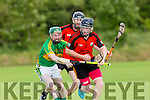 In Action  Ballyheigue's Danny Casey and Lixnaw's  James Flaherty   in the Garvey's Super value Senior County Hurling Championship, Round 1 Ballyheigue V Lixnaw at the Abbeydorney GAA pitch on Friday