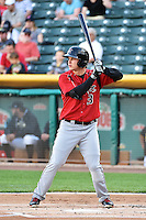 Joc Pederson (3) of the Albuquerque Isotopes at bat against the Salt Lake Bees at Smith's Ballpark on May 21, 2014 in Salt Lake City, Utah.  (Stephen Smith/Four Seam Images)