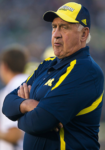 September 22, 2012:  Michigan defensive coordinator Greg Mattison during NCAA Football game action between the Notre Dame Fighting Irish and the Michigan Wolverines at Notre Dame Stadium in South Bend, Indiana.  Notre Dame defeated Michigan 13-6.