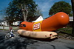 The Oscar Meyer Weiner Wagon making the rounds in the San Fernando Valley