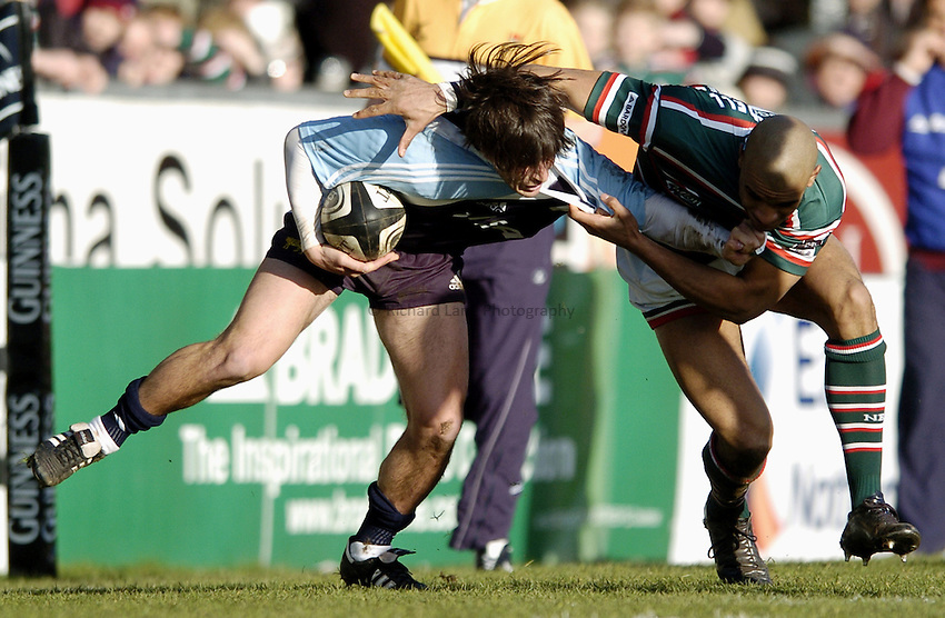 Photo: Jonathan Butler..Leicester Tigers v Argentina. The PWC Challenge Cup. 11/02/2007..Lucas Borges of Argentina is tackled by Tom Varndell.
