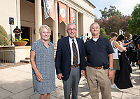 Linda and Tod White '59 pose with Robby Moore, Elbridge Amos Stuart Professor of Economics.<br /> The class of 2022 are welcomed to Occidental College by trustees, faculty and staff in Thorne Hall on Aug. 28, 2018 during Oxy's 131th Convocation ceremony, a tradition that formally marks the start of the academic year and welcomes the new class.<br /> (Photo by Marc Campos, Occidental College Photographer)