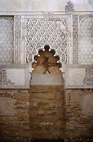 The Synagogue; built in 1315, Cordoba, Andalusia, Spain; designed in the Mudéjar style and decorated with stucco adornments which follow in the tradition of Nasrid architecture in Granada; one of the three mediaeval synagogues to have survived in Spain. Picture by Manuel Cohen