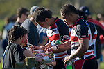 Siale Piutau & Ilaisa Maasi sign autographs after the game. Air New Zealand Cup rugby game between the Counties Manukau Steelers & Manawatu Turbos, played at Growers Stadium Pukekohe on Staurday September 20th 2008..Counties Manukau won 27 - 14 after trailing 14 - 7 at halftime.