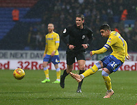 Leeds United's Pablo Hernandez shoots into a crowded penalty area<br /> <br /> Photographer Stephen White/CameraSport<br /> <br /> The EFL Sky Bet Championship - Bolton Wanderers v Leeds United - Saturday 15th December 2018 - University of Bolton Stadium - Bolton<br /> <br /> World Copyright &copy; 2018 CameraSport. All rights reserved. 43 Linden Ave. Countesthorpe. Leicester. England. LE8 5PG - Tel: +44 (0) 116 277 4147 - admin@camerasport.com - www.camerasport.com