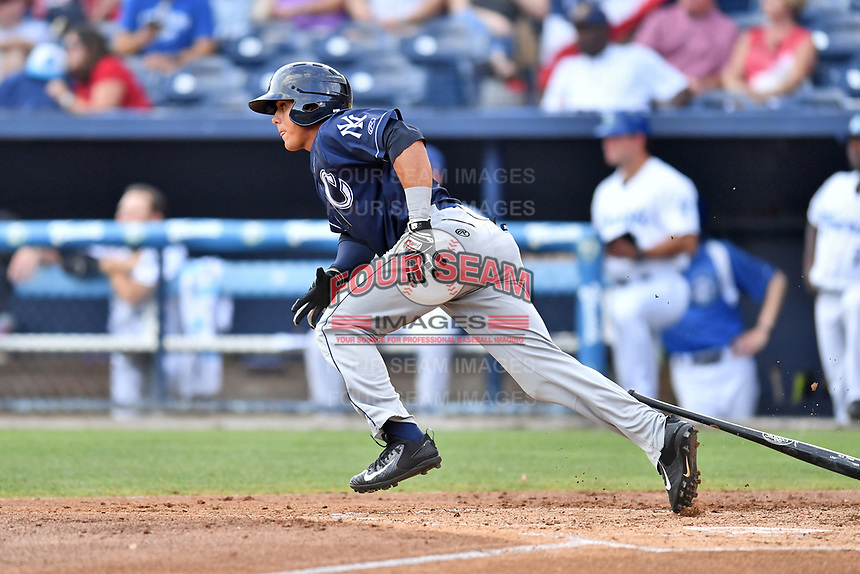 Charleston RiverDogs designated hitter Carlos Vidal (2) swings at a pitch during a game against the Asheville Tourists at McCormick Field on July 4, 2017 in Asheville, North Carolina. The Tourists defeated the RiverDogs 2-1. (Tony Farlow/Four Seam Images)