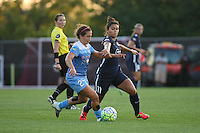 Piscataway, NJ - Saturday Aug. 27, 2016: Danielle Colaprico, Raquel Rodriguez during a regular season National Women's Soccer League (NWSL) match between Sky Blue FC and the Chicago Red Stars at Yurcak Field.