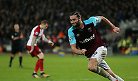 West Ham United's Andy Carroll celebrates scoring his side's second goal <br /> <br /> Photographer Rob Newell/CameraSport<br /> <br /> The Premier League - West Ham United v West Bromwich Albion - Tuesday 2nd January 2018 - London Stadium - London<br /> <br /> World Copyright &copy; 2018 CameraSport. All rights reserved. 43 Linden Ave. Countesthorpe. Leicester. England. LE8 5PG - Tel: +44 (0) 116 277 4147 - admin@camerasport.com - www.camerasport.com