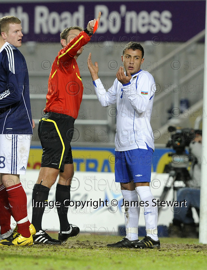 02/03/2010  Copyright  Pic : James Stewart.sct_jspa08_scotlandu21_v_azerbaijan  .::  AKHUNDOV TURAL IS SENT OFF  :: .James Stewart Photography 19 Carronlea Drive, Falkirk. FK2 8DN      Vat Reg No. 607 6932 25.Telephone      : +44 (0)1324 570291 .Mobile              : +44 (0)7721 416997.E-mail  :  jim@jspa.co.uk.If you require further information then contact Jim Stewart on any of the numbers above.........