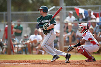 Michigan State Spartans third baseman Justin Hovis (8) at bat in front of catcher Jean Ramirez (27) during a game against the Illinois State Redbirds on March 8, 2016 at North Charlotte Regional Park in Port Charlotte, Florida.  Michigan State defeated Illinois State 15-0.  (Mike Janes/Four Seam Images)