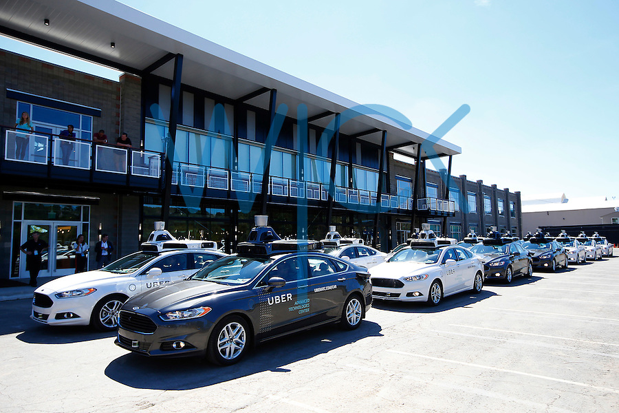 Uber showcases its fleet of self-driving cars on Tuesday, September 13, 2016 in Pittsburgh, Pennsylvania. (Photo by Jared Wickerham/Wick Photography)