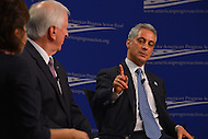 January 14, 2013  (Washington, DC)  Chicago Mayor Rahm Emanuel (right) speaks at a gun violence forum sponsored by the Center for American Progress Action Fund in Washington. Neera Tanden (left), President of the Center for American Progress and Rep. Mike Thompson (D-CA) (2,L) (Photo by Don Baxter/Media Images International)