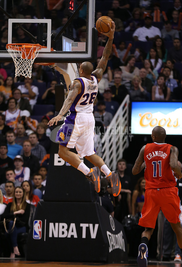 Jan. 24, 2013; Phoenix, AZ, USA: Phoenix Suns guard Shannon Brown dunks the ball in the second half against the Los Angeles Clippers at the US Airways Center. The Suns defeated the Clippers 93-88. Mandatory Credit: Mark J. Rebilas-USA TODAY Sports