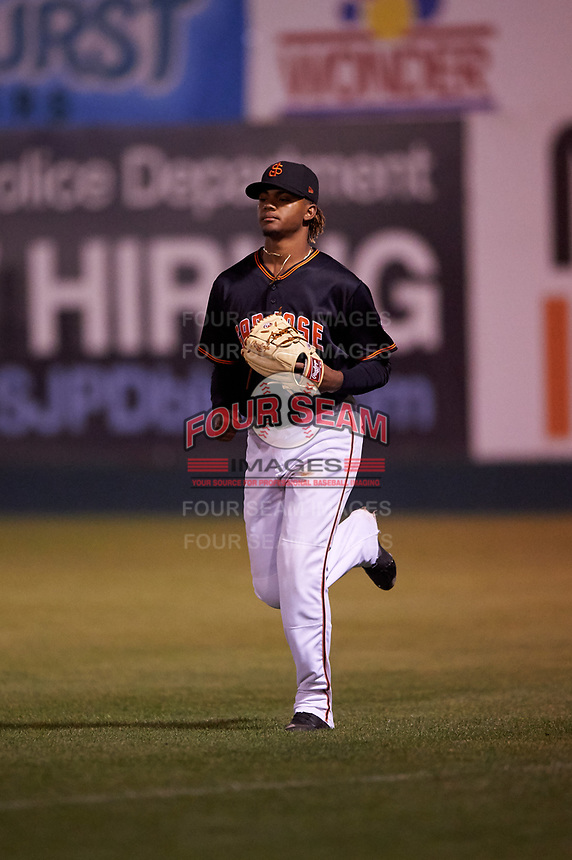 San Jose Giants relief pitcher Camilo Doval (22) during a California League game against the Visalia Rawhide on April 12, 2019 at San Jose Municipal Stadium in San Jose, California. Visalia defeated San Jose 6-2. (Zachary Lucy/Four Seam Images)