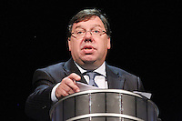 7/9/2010. Convention Centre opens. An Taoiseach Brian Cowen is pictured speaking at the official opening of the Dublin Convention Centre. Picture James Horan/Collins