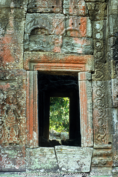 Banteay Kdei Temple Window - Carved stonework around window opening, Banteay Kdei Temple, Angkor, Siem Reap, Cambodia.