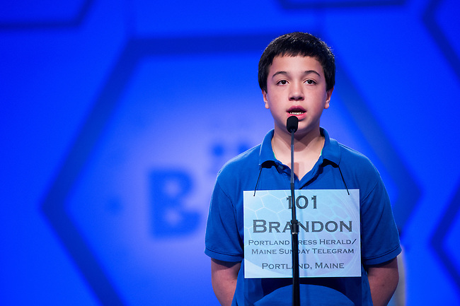 Speller No. 101, Brandon Aponte, 12, seventh grader at Downeast Home School Co-op, Ellsworth, Maine, competes in the preliminary rounds of the Scripps National Spelling Bee at the Gaylord National Resort and Convention Center in National Habor, Md., on Wednesday, May 29, 2013. Photo by Bill Clark