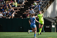 Seattle, WA - Sunday, May 22, 2016: Seattle Reign FC defender Carson Pickett (16) goes up for a header during a regular season National Women's Soccer League (NWSL) match at Memorial Stadium. Chicago Red Stars won 2-1.