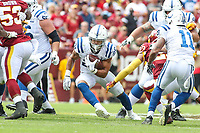 Landover, MD - September 16, 2018: DUPLICATE***Indianapolis Colts running back Jordan Wilkins (20)  runs the ball during the  game between Indianapolis Colts and Washington Redskins at FedEx Field in Landover, MD.   (Photo by Elliott Brown/Media Images International)