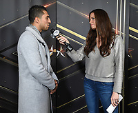 BROOKLYN - JANUARY 24: Boxer Josesito Lopez is interviewed by Fox Sports' Heidi Androl following a press conference for the January 26 PBC on FOX fight card at Barclays Arena on January 24, 2019, in Brooklyn, New York. (Photo by Frank Micelotta/Fox Sports/PictureGroup)