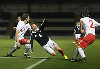Scott Allan fouled in the Scotland v Luxembourg UEFA Under 21 international qualifying match at St Mirren Park, Paisley on 6.9.12.