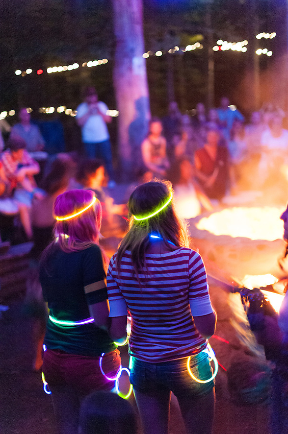 Nighttime scenes from the Kiva Drum circle at Blissfest a Michigan music festival.