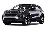 Stock pictures of low aggressive front three quarter view of a 2019 KIA Sportage More 5 Door SUV