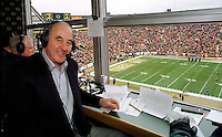 Former Green Bay Packer Max McGee getting ready to do radio commentary for the December 22, 1996 game against the Minnesota Vikings. <br />