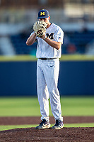 Michigan Wolverines pitcher Blake Beers (29) looks to his catcher for the sign during the NCAA baseball game against the Eastern Michigan Eagles on May 8, 2019 at Ray Fisher Stadium in Ann Arbor, Michigan. Michigan defeated Eastern Michigan 10-1. (Andrew Woolley/Four Seam Images)