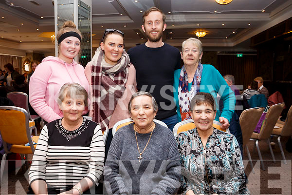Bridget Duggan seated front centre, celebrating her birthday with family and friends at the Caherleaheen Bingo fundraiser in the Rose Hotel on Sunday last, <br /> seated l-r, Mary Redmond, birthday girl Bridget Duggan and Nora Hanafin. Standing l-r, Ellie, Karen and Brian Redmond and Sally O&rsquo;Callaghan.