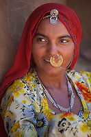 Indian Bishnoi woman at Bishnoi village near Rohet in Rajasthan, Northern India