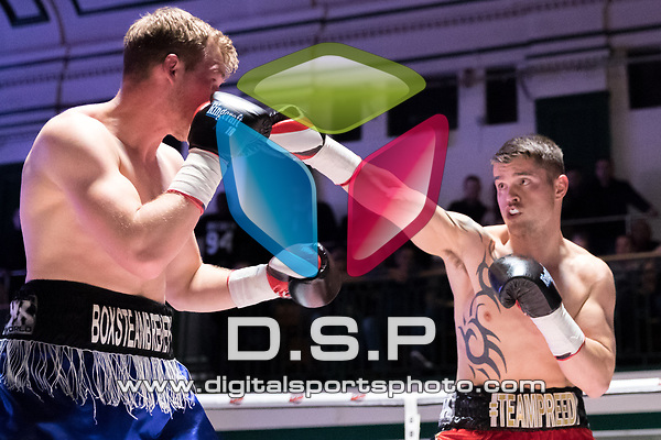Mitchell Preedy vs Dan Blackwell 4x3 - Light Heavyweight Contest During Goodwin Boxing: Nemesis. Photo by: Simon Downing.<br /> <br /> Saturday 22th April 2017 - York Hall, Bethnal Green, London, United Kingdom.