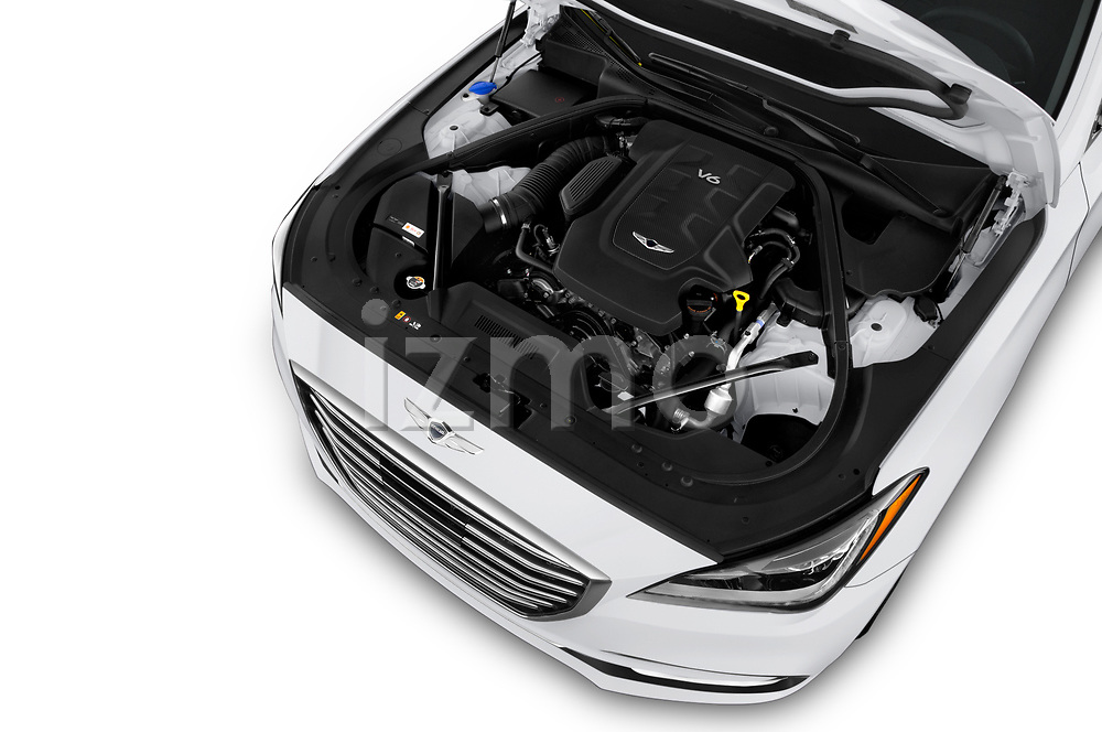 Car stock 2019 Genesis G80 RWD 4 Door Sedan engine high angle detail view