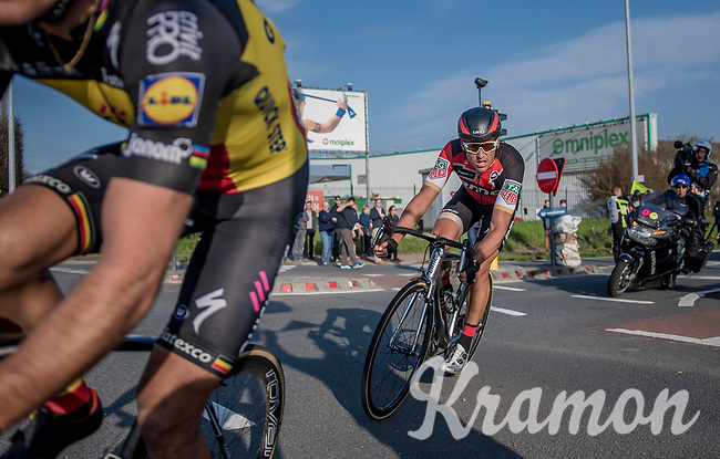 race leaders Greg Van Avermaet (BEL/BMC), Philippe Gilbert (BEL/Quick Step floors) (&amp; Oliver Naesen) in the last kilometers of the race<br /> <br /> 60th E3 Harelbeke (1.UWT)<br /> 1day race: Harelbeke &rsaquo; Harelbeke - BEL (206km)