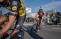 race leaders Greg Van Avermaet (BEL/BMC), Philippe Gilbert (BEL/Quick Step floors) (& Oliver Naesen) in the last kilometers of the race<br /> <br /> 60th E3 Harelbeke (1.UWT)<br /> 1day race: Harelbeke › Harelbeke - BEL (206km)