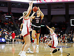 SIOUX FALLS, SD - MARCH 7: Ella Ogier #10 of the Omaha Mavericks goes up for a jump shot against Hannah Sjerven #34 of the South Dakota Coyotes at the 2020 Summit League Basketball Championship in Sioux Falls, SD. (Photo by Richard Carlson/Inertia)