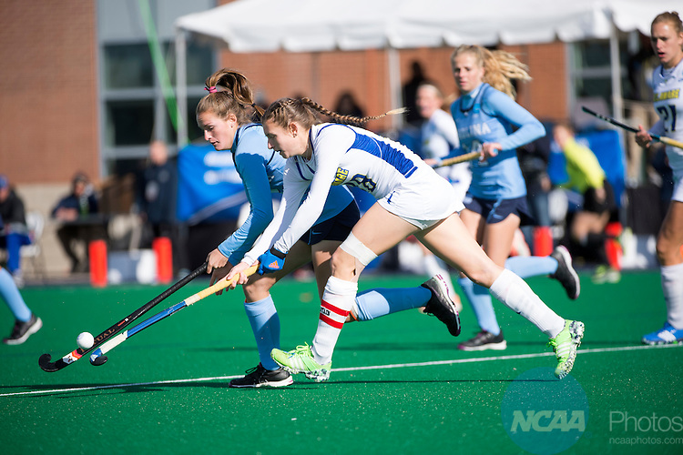 NORFOLK, VA - NOVEMBER 20:  Maura Zarkoski (18) of the University of Delaware and Lauren Moyer (2) of the University of North Carolina battle for the ball during the Division I Women's Field Hockey Championship held at the LR Hill Sports Complex on November 20, 2016 in Norfolk, Virginia.  Delaware defeated North Carolina 3-2 for the national title. (Photo by Jamie Schwaberow/NCAA Photos via Getty Images)