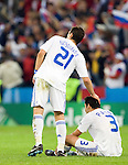 Kostas Katsouranis and Christos Patsatzoglou after losing to Russia at Euro 2008, RUS-GRE, 06142008, Salzburg, Austria