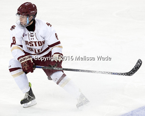 Jesper Mattila (BC - 8) - The Boston College Eagles defeated the visiting Colorado College Tigers 4-1 on Friday, October 21, 2016, at Kelley Rink in Conte Forum in Chestnut Hill, Massachusetts.The Boston College Eagles defeated the visiting Colorado College Tiger 4-1 on Friday, October 21, 2016, at Kelley Rink in Conte Forum in Chestnut Hill, Massachusett.