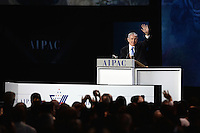 Washington, DC - March 2, 2015: Israeli Prime Minister Benjamin Netanyahu waves to the audience after addressing attendees of the American Israeli Public Affairs Committee Policy Conference at the Washington Convention Center, March 2, 2015.   (Photo by Don Baxter/Media Images International)