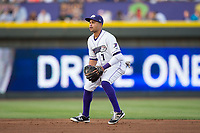 Winston-Salem Dash second baseman Ronald Bueno (7) on defense against the Buies Creek Astros at BB&T Ballpark on April 13, 2017 in Winston-Salem, North Carolina.  The Dash defeated the Astros 7-1.  (Brian Westerholt/Four Seam Images)