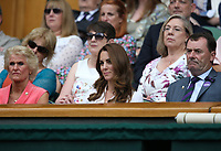 Catherine, Duchess of Cambridge watches centre court action between Roger Federer and Lloyd Harris<br /> <br /> Photographer Rob Newell/CameraSport<br /> <br /> Wimbledon Lawn Tennis Championships - Day 2 - Tuesday 2nd July 2019 -  All England Lawn Tennis and Croquet Club - Wimbledon - London - England<br /> <br /> World Copyright © 2019 CameraSport. All rights reserved. 43 Linden Ave. Countesthorpe. Leicester. England. LE8 5PG - Tel: +44 (0) 116 277 4147 - admin@camerasport.com - www.camerasport.com
