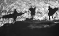 Surfers walk out to Steamer Lane in Santa Cruz, Calif. on Dec. 12, 2015.
